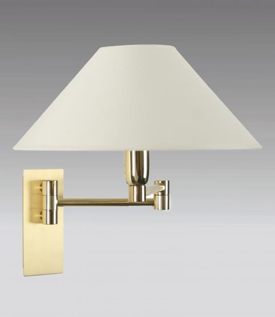 AHMOSIS -SW in polished brass with lampshade in chinette ivoire