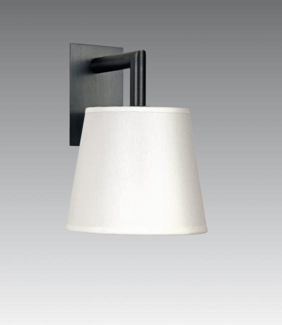 EDFOU 1 in brushed bronze with lampshade in chinette ivoire
