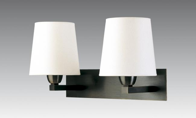 MONTOU in brushed bronze with lampshades in chinette ivoire