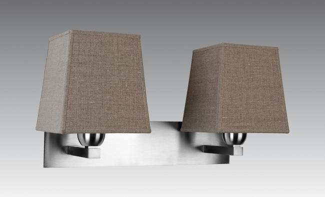 MONTOU in brushed chrome with lampshades in lin pompéi