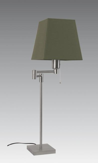 SENNEDJEN in brushed chrome with square conical shade 20 cm in seta vert-sauge