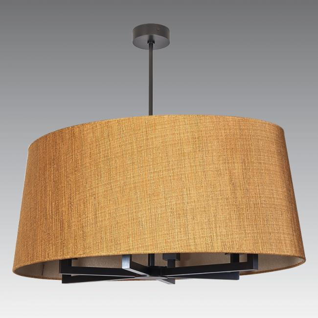 TOURAH 6 OVALE 90 in brushed bronze with shade in turda abricot and inside bergame mordoré
