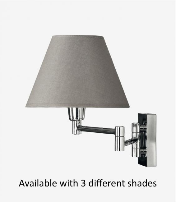 MAMMISI - SWITCH in polished chrome with conical shade in coton gris.