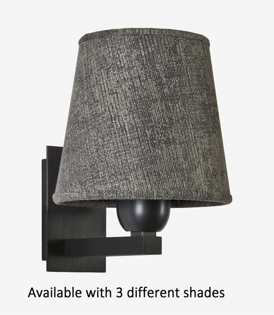 RAMOSE 1 #  in brushed bronze with round conical shade in trento basalte. Available with 3 different shades