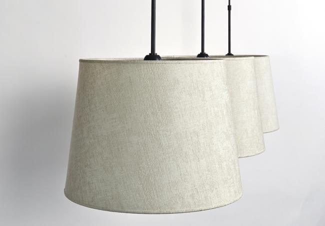 MEREROUKA 3 o40 in brushed nickel with shades in trento jute