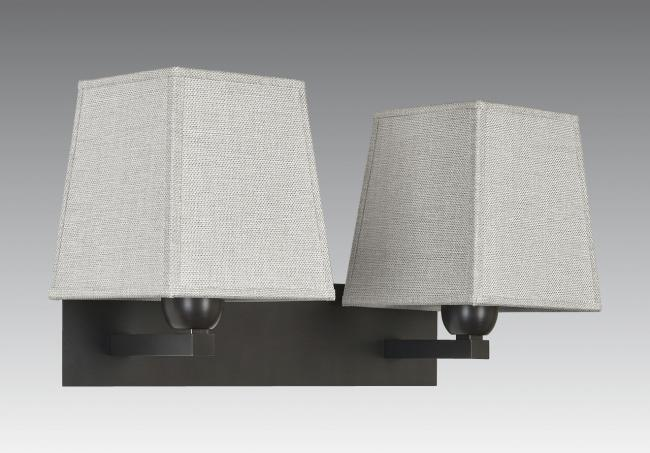 MONTOU in brushed bronze with lampshades in dreams bambou